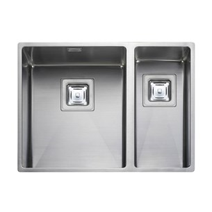 Rangemaster Atlantic Kube 2 Bowl Stainless Steel Undermount Sink & Waste Kit - Right Hand